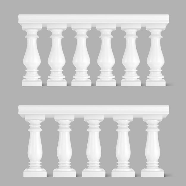 Balaustrada de mármore branco, corrimão para varanda Vetor grátis