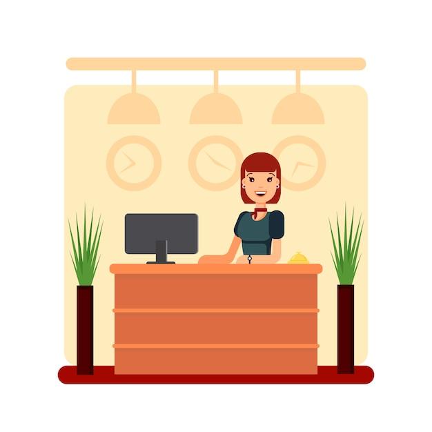 Balcão de recepção do hotel plana com recepcionista jovem. gerente de menina em pé, conceito de escritório de negócios. bem-vindo ilustração estoque registro. Vetor Premium