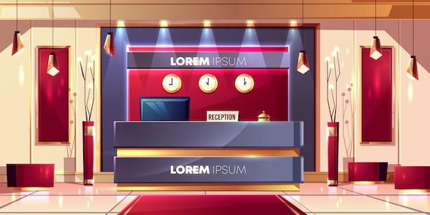 Balcão de recepção ou mesa no lobby do hotel de luxo ou empresa escritório salão interior dos desenhos animados Vetor grátis