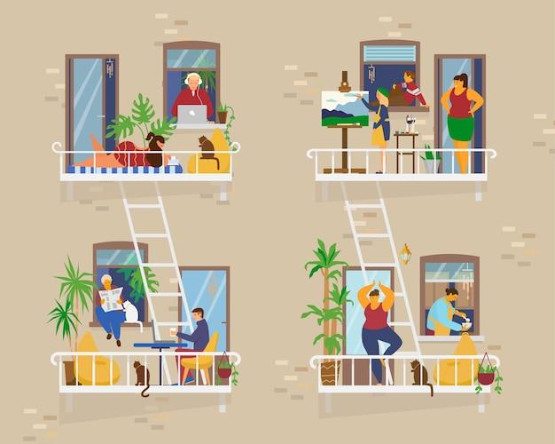 Balcões com pessoas durante a quarentena. vizinhos no isolamento socail. trabalhar, tomar sol, pintar, cozinhar, fazer ioga, ler. Vetor Premium