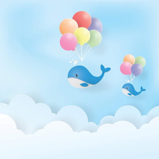 Baleia azul voadora com balões coloridos, arte de papel, papel cortado, vetor de artesanato, design Vetor Premium