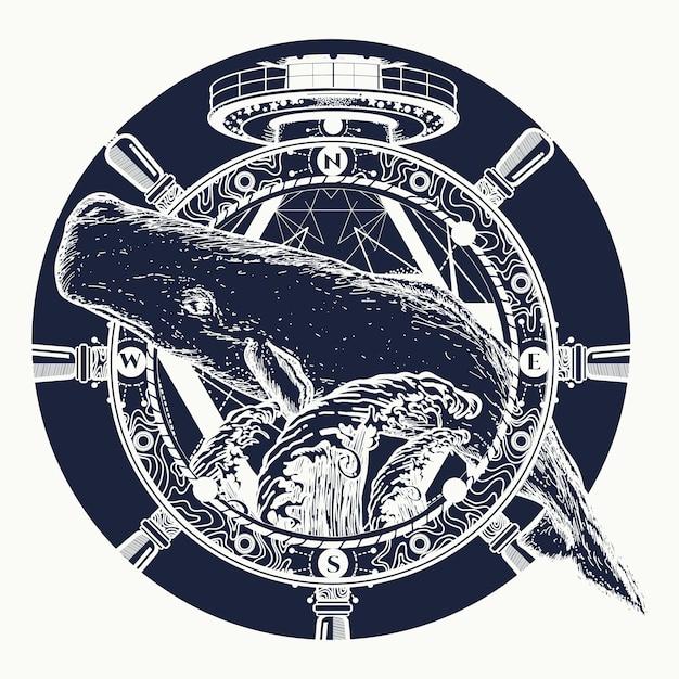 Baleia e volante, tatuagem Vetor Premium