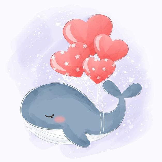 Baleia em aquarela voando com balões Vetor Premium