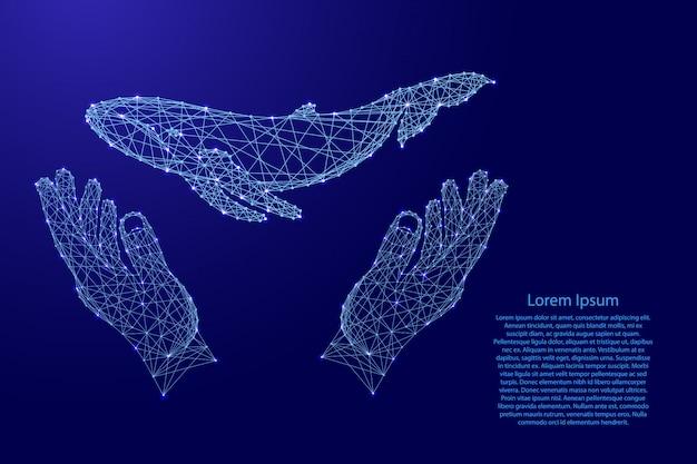 Baleia flutuante e dois segurando, protegendo as mãos de linhas azuis poligonais futuristas. Vetor Premium