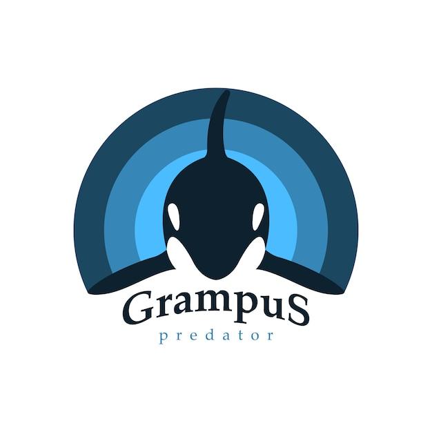 Baleia orca de logotipo. Vetor Premium