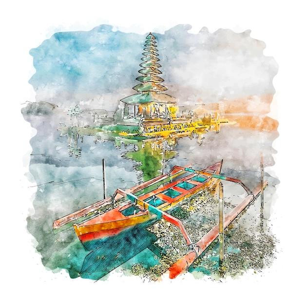 Bali indonésia esboço em aquarela. Vetor Premium