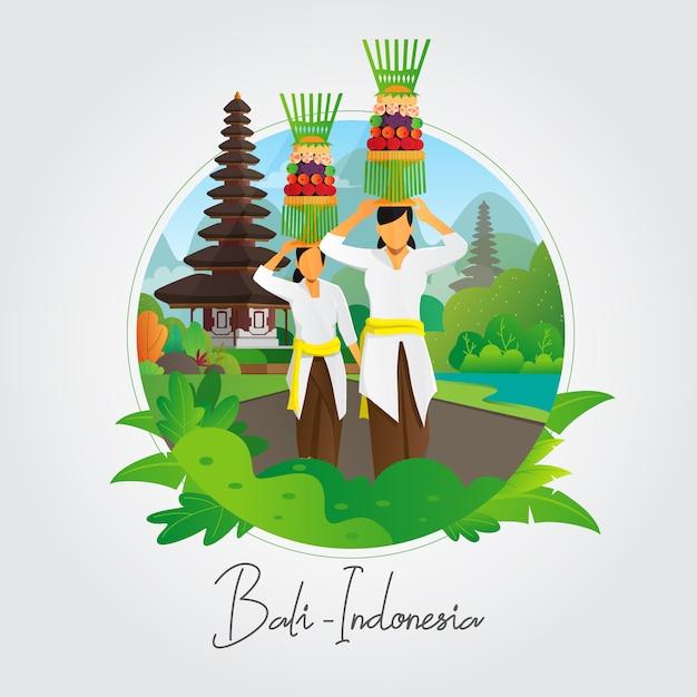 Balineses mulheres carregando oferecendo fundo Vetor Premium