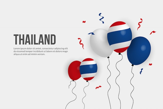 Ballon realista do fundo da bandeira de tailândia. Vetor Premium