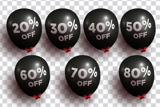 Balões 3d realistas com pacote de porcentagem Vetor grátis