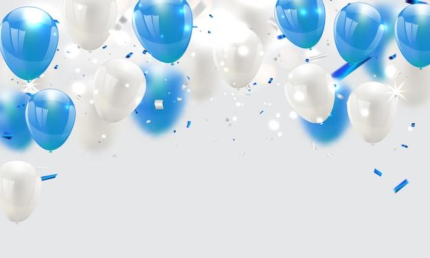 Balões azuis, celebração, fundo Vetor Premium