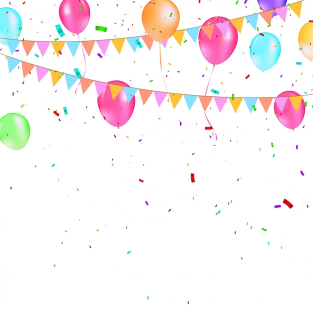 Balões coloridos com bandeiras de festa triangular, confetes e serpentinas de papel. Vetor Premium
