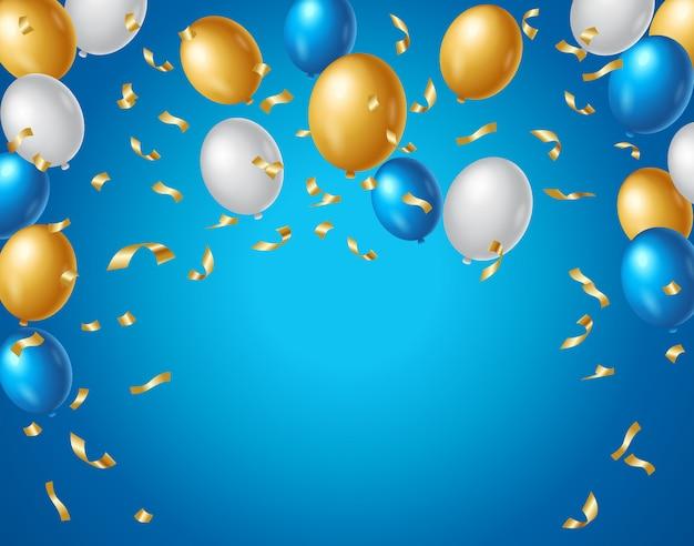 Balões coloridos de azuis, brancos e dourados e confetes dourados sobre um fundo azul. fundo de aniversário colorido Vetor Premium