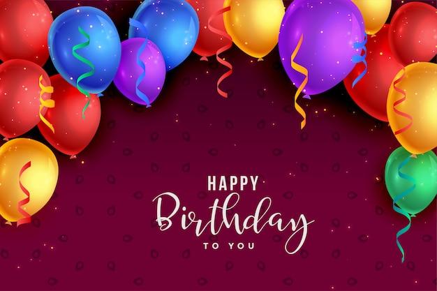 Balões coloridos design de cartão de feliz aniversário Vetor grátis