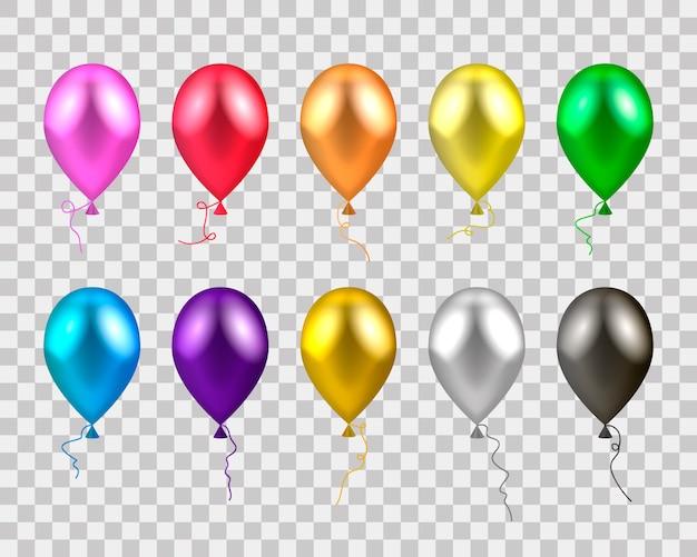 Balões coloridos realistas. Vetor Premium