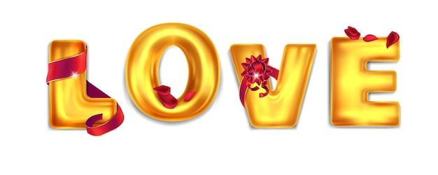 Balões com a inscrição amor Vetor Premium