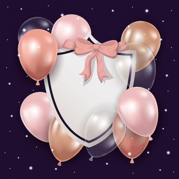 Balões com gravata borboleta e etiqueta Vetor grátis