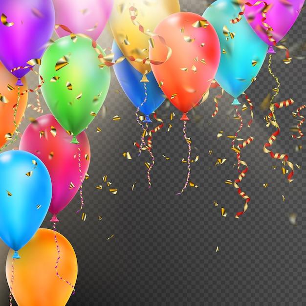 Balões, confetes e fitas de ouro vermelhas. Vetor Premium