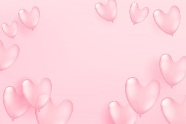 Balões cor-de-rosa de voo no fundo cor-de-rosa dia dos namorados e modelo de cartão de celebração do dia das mães Vetor Premium