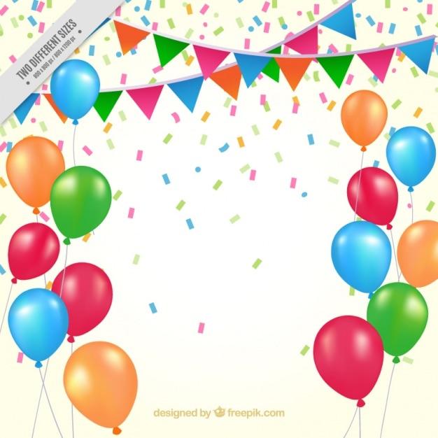 Balões de aniversário fundo e bandeirolas Vetor grátis