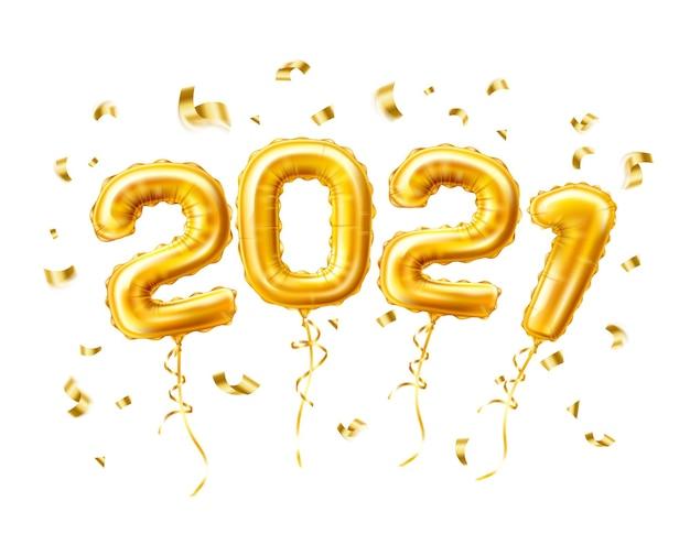 Balões de ar 2021 dourados realistas com confete ano novo, modelo de celebração de feliz natal. Vetor Premium