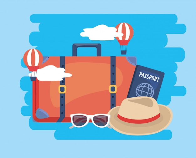 Balões de ar com bagagem de viagem e passaporte Vetor Premium