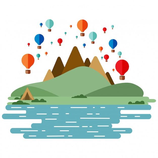 Balões de ar quente - conjunto de vários balões coloridos no céu com nuvens. montanhas e rio de colinas verdes. Vetor Premium