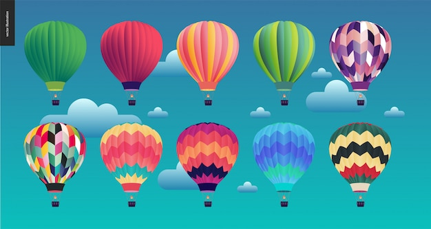 Balões de ar quente Vetor Premium