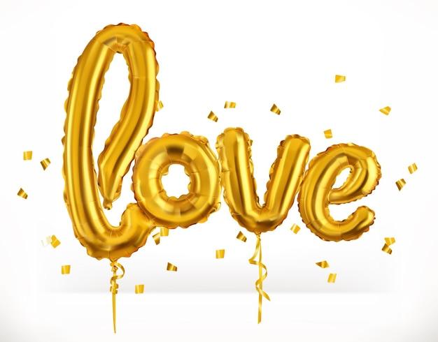 Balões de brinquedo dourados. ame. dia dos namorados, ícone Vetor Premium