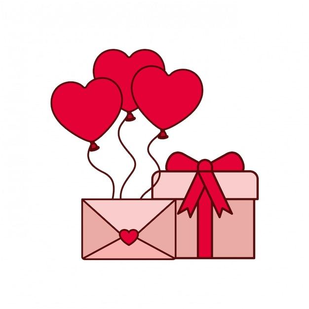 Balões de coração com ícone isolado de caixa de presente Vetor Premium