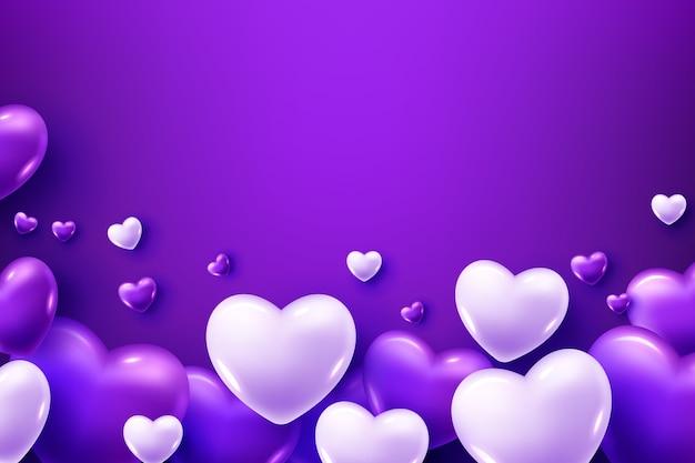 Balões de coração roxo e branco em um fundo roxo Vetor grátis