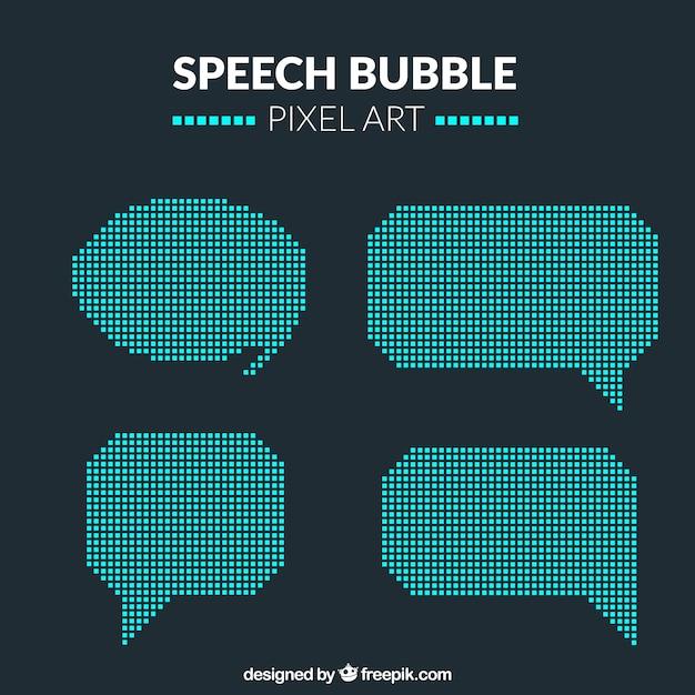 Balões de discurso no estilo pixel art Vetor grátis