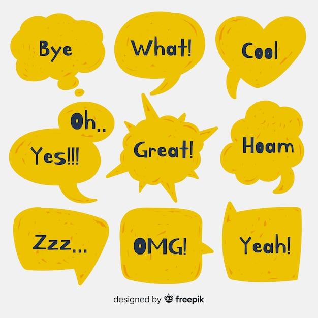 Balões de fala amarela com diferentes expressões Vetor grátis