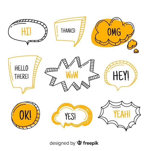 Balões de fala com expressões modernas Vetor grátis