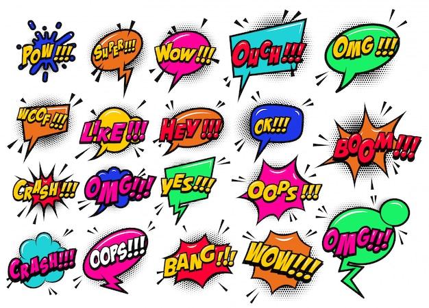 Balões de fala cômicos estouraram o boom, uau, ei, ok, omg, crash. para cartaz, cartão, banner, panfleto. imagem Vetor Premium