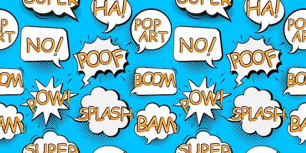 Balões de fala em quadrinhos no estilo pop art com ilustração de padrão sem emenda de desenho de bomba e texto de explosão Vetor Premium
