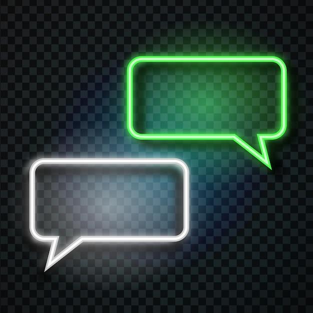 Balões de fala retrô de néon realistas no fundo transparente para decoração e cobertura. conceito de mensagem e rede. Vetor Premium