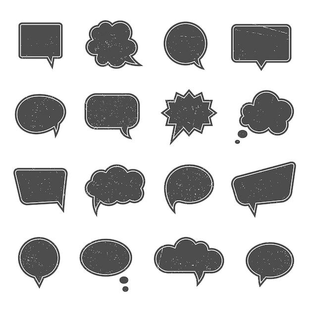 Balões de fala vazios em estilo vintage moderno. diálogo e mensagem, pensamento e comunicação, fale nuvem web, pense, Vetor grátis