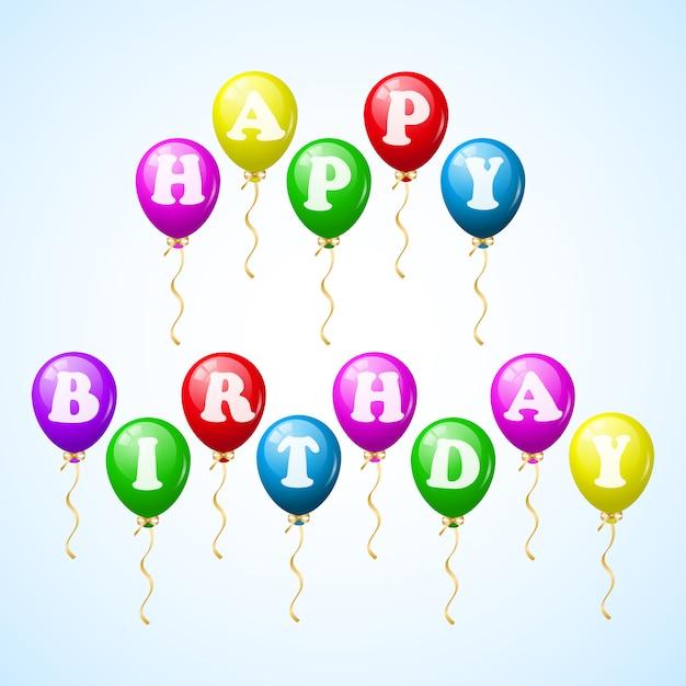 Balões de festa feliz aniversário Vetor grátis