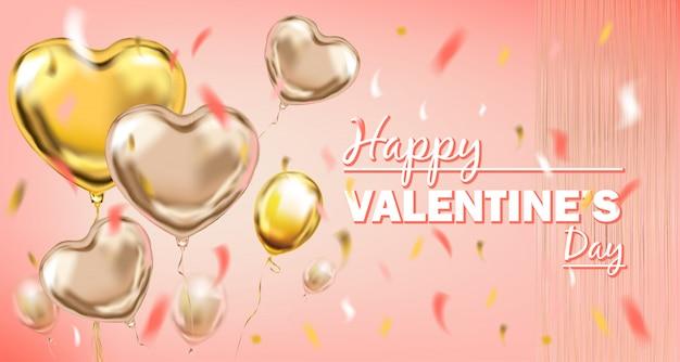 Balões de forma de coração de folha-de-rosa e ouro Vetor Premium