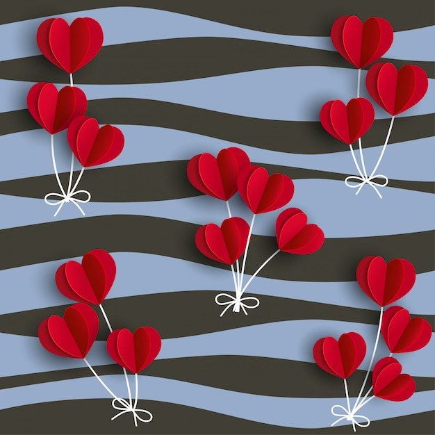 Balões de forma de corações vermelhos em fundo ondulado Vetor Premium