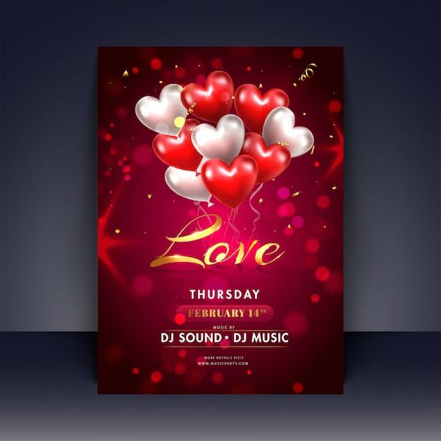 Balões de forma realista coração com letras de amor elegante em re Vetor Premium