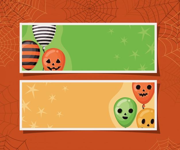 Balões de halloween listrados e de abóbora em molduras com design de teias de aranha, feriado e tema assustador Vetor Premium