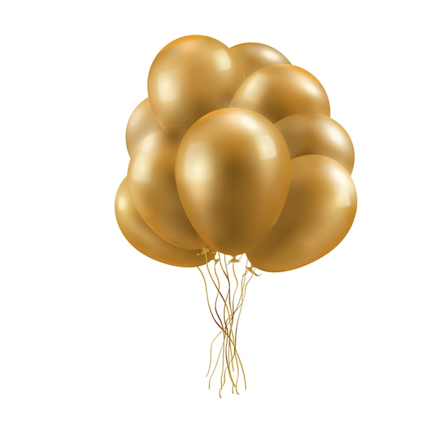 Balões de ouro brilhantes 3d realistas Vetor Premium