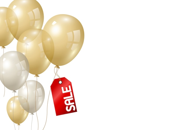 Balões de ouro e prata sobre fundo branco Vetor Premium