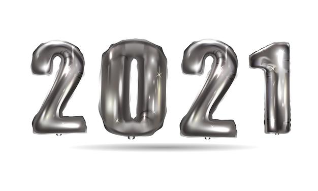 Balões de prata realistas ano novo. data dos números metálicos do design do fundo Vetor Premium