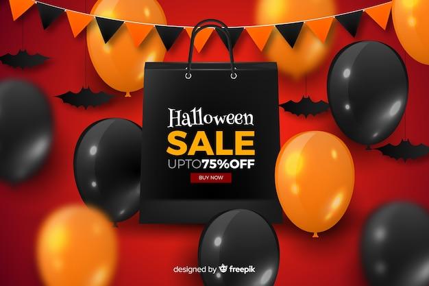 Balões de venda de halloween realista e guirlanda Vetor grátis