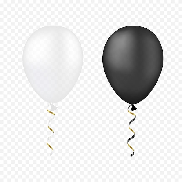 Balões de vetor branco e preto na transparente Vetor Premium