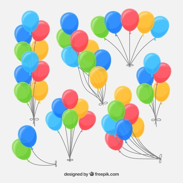 Balões decorativos bonitos e coloridos Vetor grátis