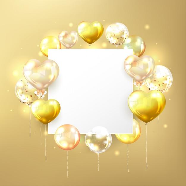 Balões dourados com espaço branco cópia em forma quadrada Vetor grátis