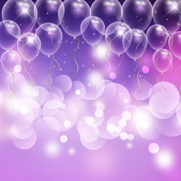 Balões e bokeh luzes fundo de celebração Vetor Premium